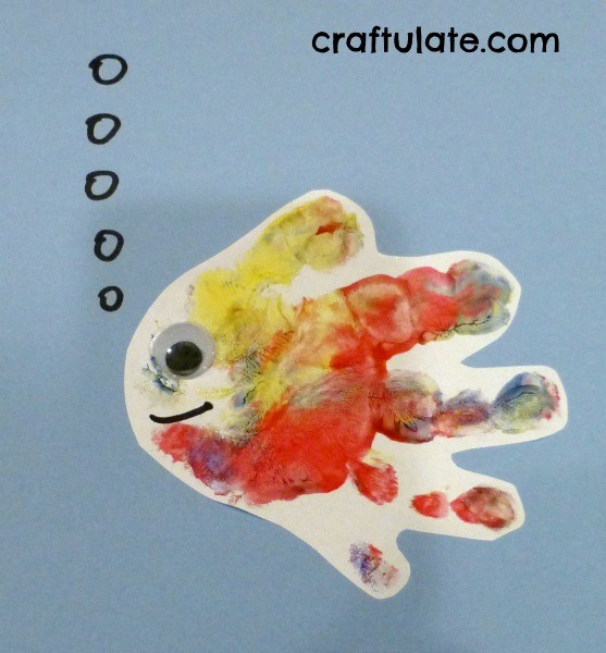 Handprint Fish - turn toddler painty hands into art!