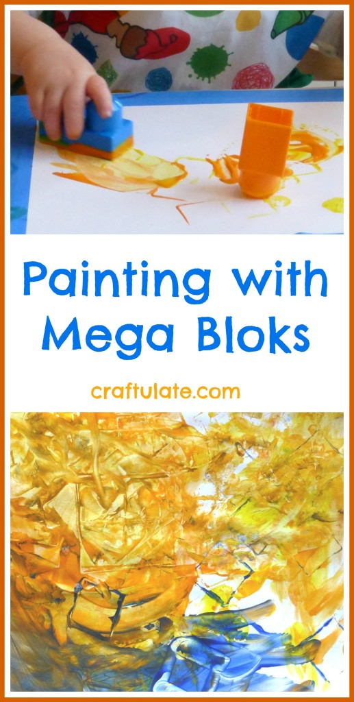 Painting with Mega Bloks - toddler art activity