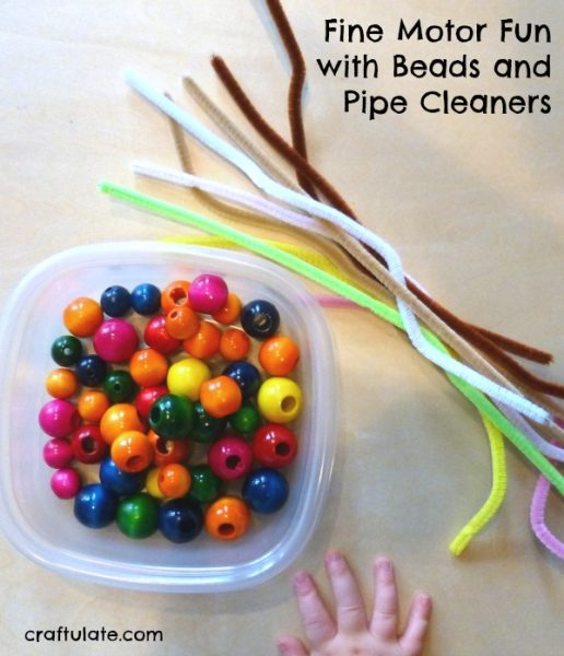 fine motor fun with beads and pipe cleaners craftulate