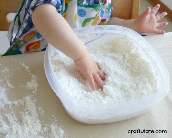 Indoor Snow for sensory play: if you don't have any outside - make your own!