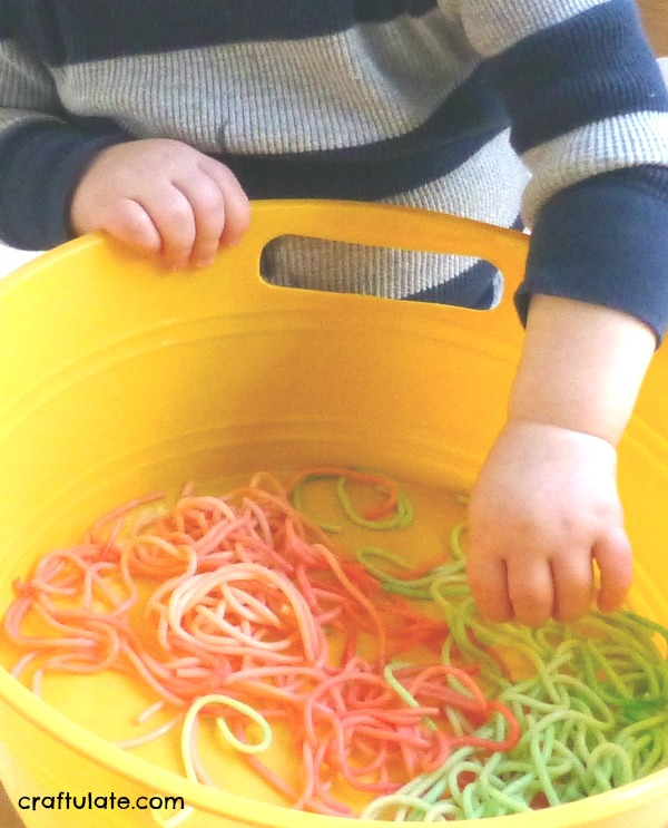 Sensory Play with Spaghetti - perfect for toddlers!