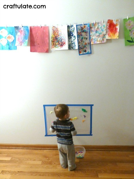 Sticky Wall Art for Toddlers - a fun process art activity