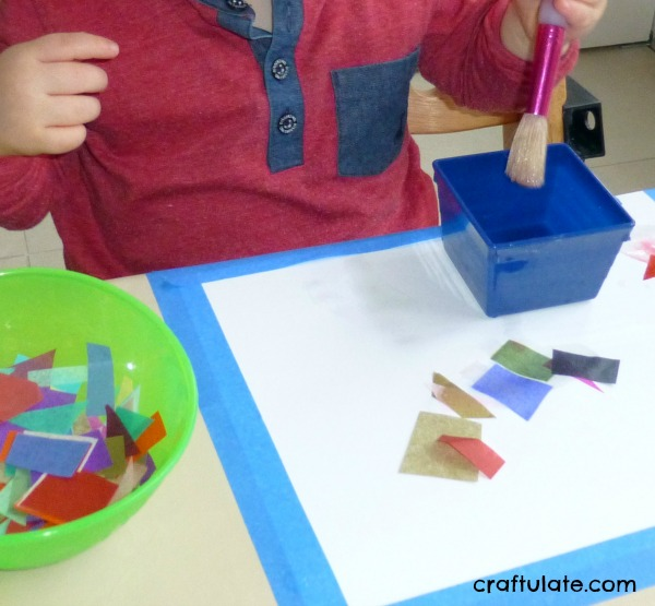 Tissue Paper and Water Art for toddlers