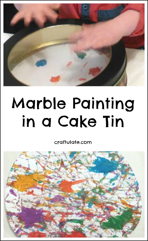Marble Painting in a Cake Tin - mess free process art activity for toddlers