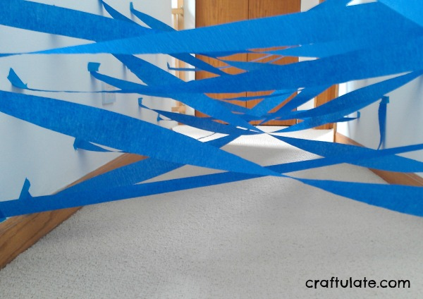 Rainy Day Paper Web - a fun gross motor activity for kids