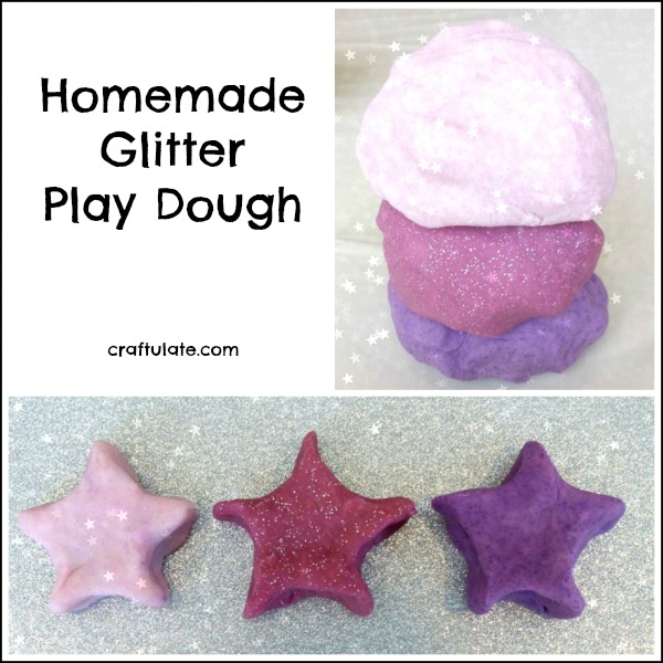 Homemade Glitter Play Dough - sparkly sensory fun for kids!