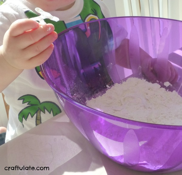 Invisible Hot Glue Letters Sensory Bin
