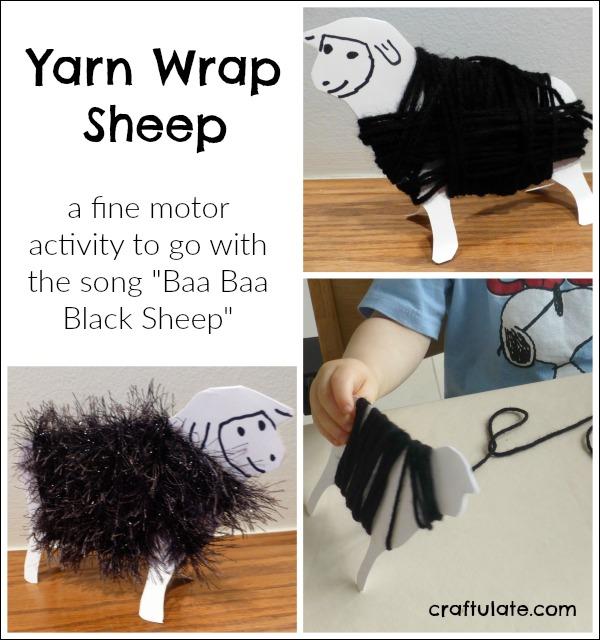 Yarn Wrap Sheep - a fun fine motor activity to go with the song Baa Baa Black Sheep