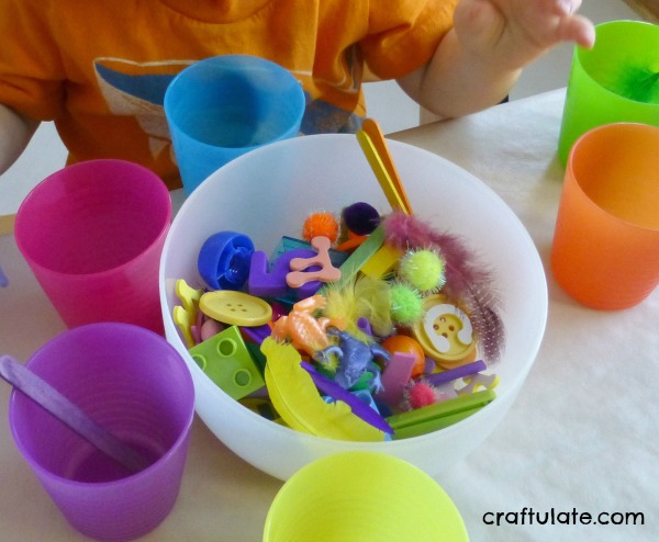 Colour Sorting Cups - toddler activity