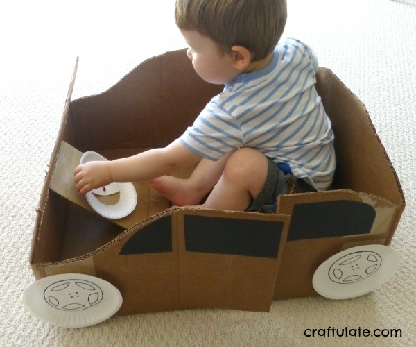 Cardboard box car craftulate for How to make a cardboard box car that moves