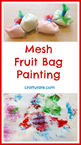 Mesh Fruit Bag Painting - process art for kids