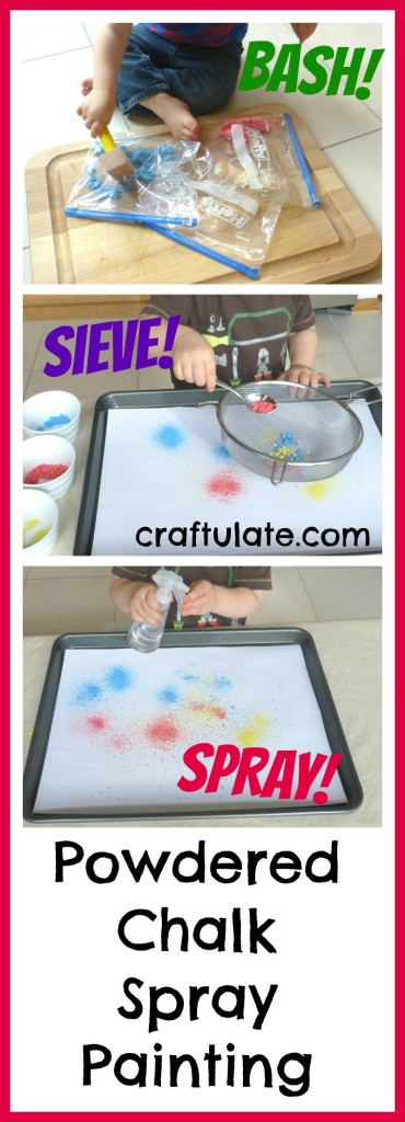 Powdered Chalk Spray Painting - fine motor fun and an art project!