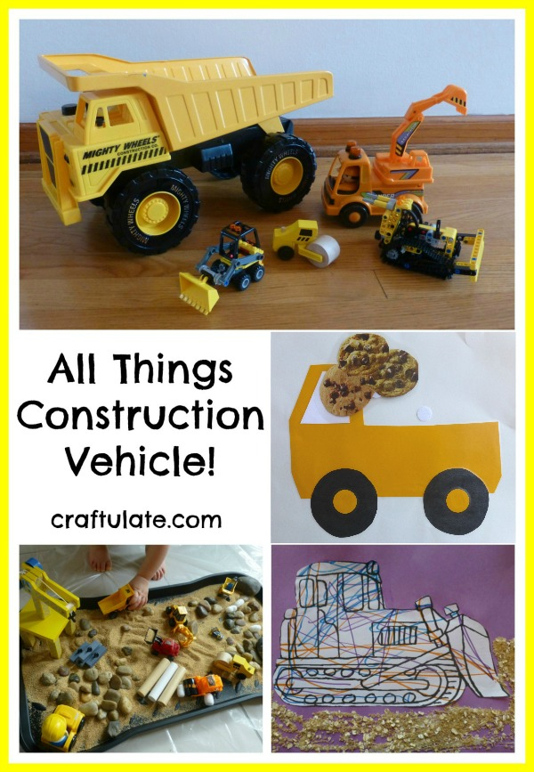 All Things Construction Vehicle! Crafts and activities for kids.