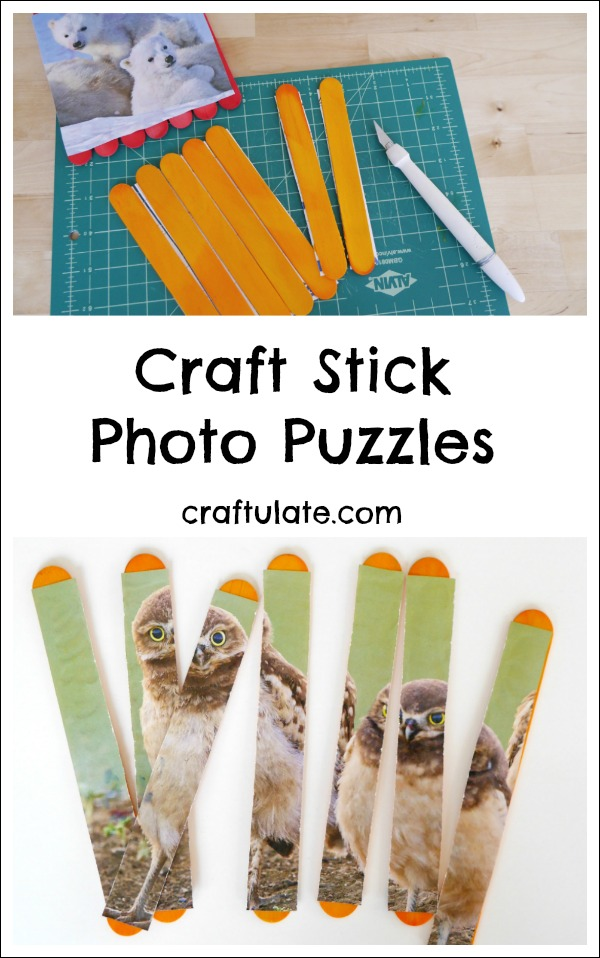 Craft Stick Photo Puzzles - fun for kids to play with or give as gifts