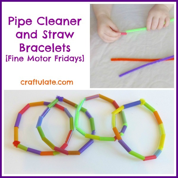 Pipe Cleaner and Straw Bracelets - a fine motor activity for toddlers