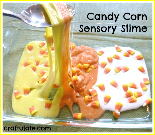 Candy Corn Sensory Slime - decorated with leftover candy corn!