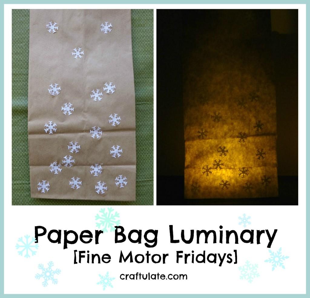 Paper Bag Luminary [Fine Motor Fridays]