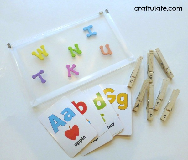 Clothespin Letter Match Busy Bag by Craftulate