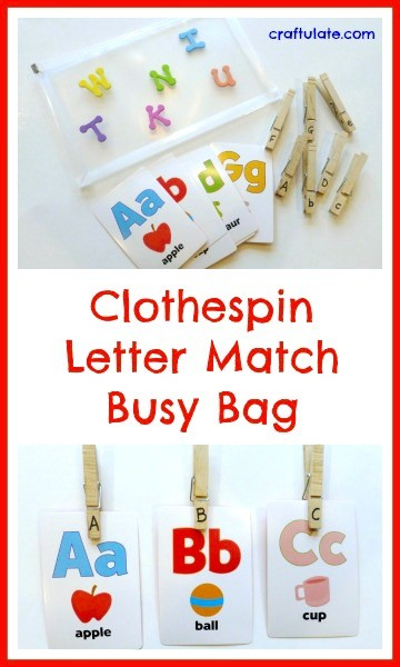 Clothespin Letter Match Busy Bag - learn letters and work on fine motor skills!