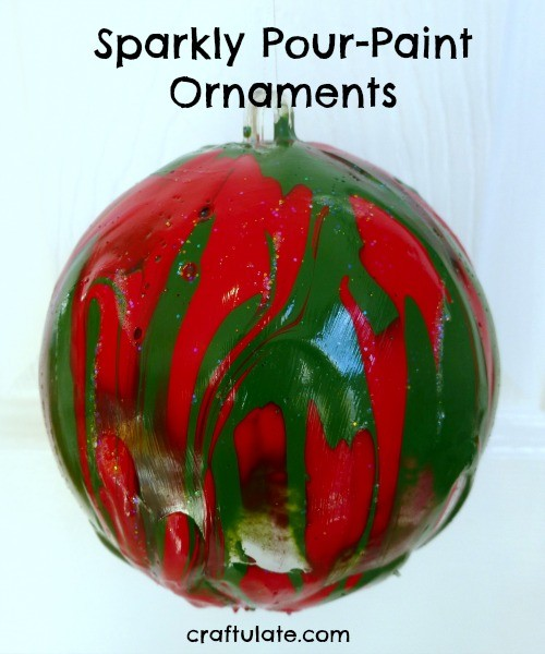 Sparkly Pour-Paint Ornaments