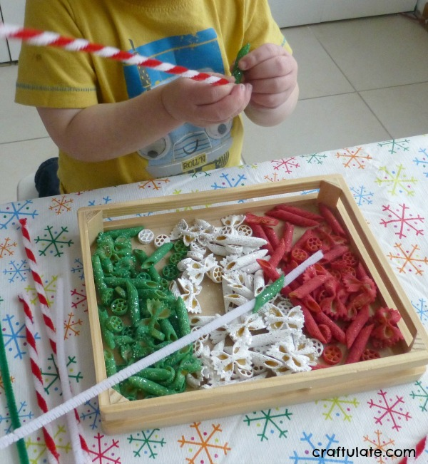 Glittery Christmas Pasta Sensory Play - festive fun for kids