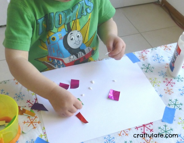 Christmas Tree and Ornament Art for Toddlers - two fun art processes!