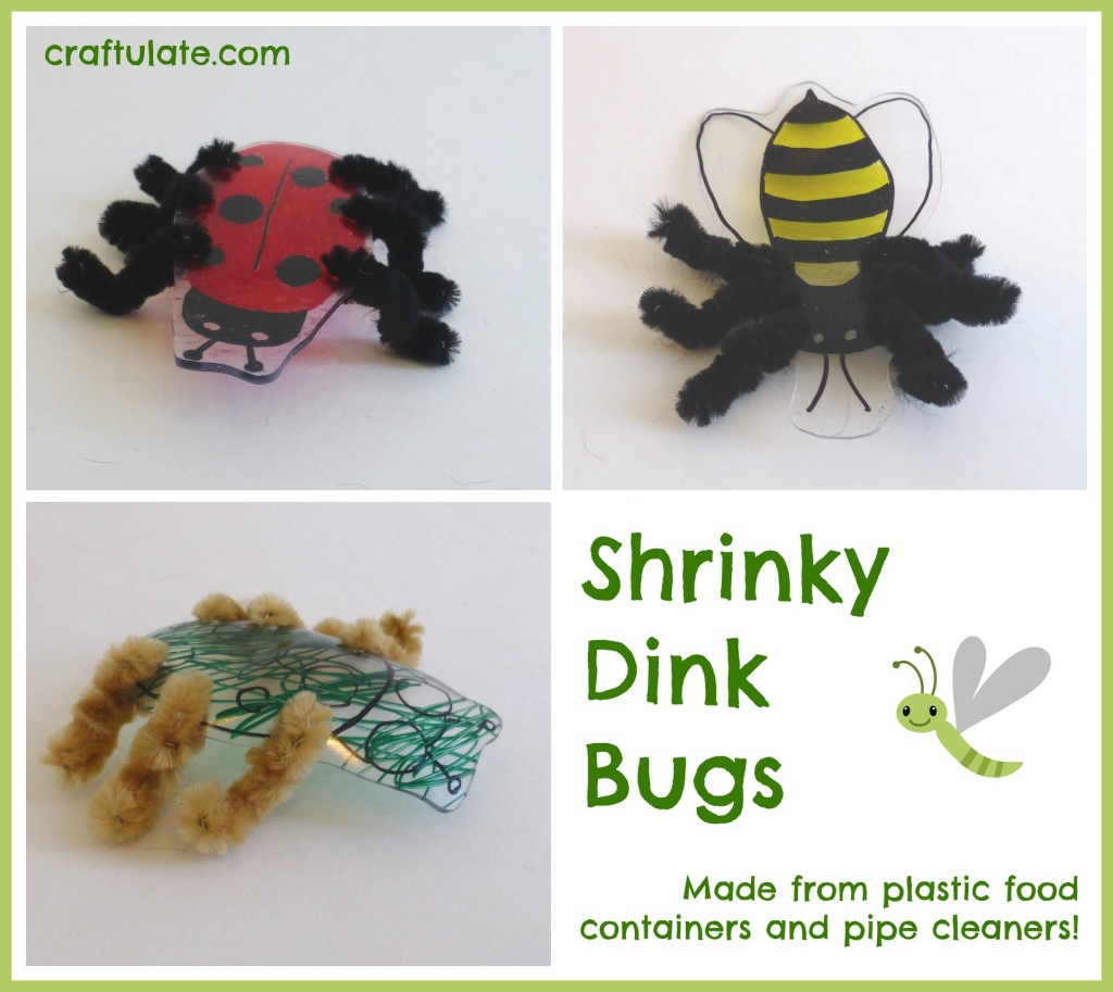 Shrinky Dink Bugs - kids craft made from recycled plastic