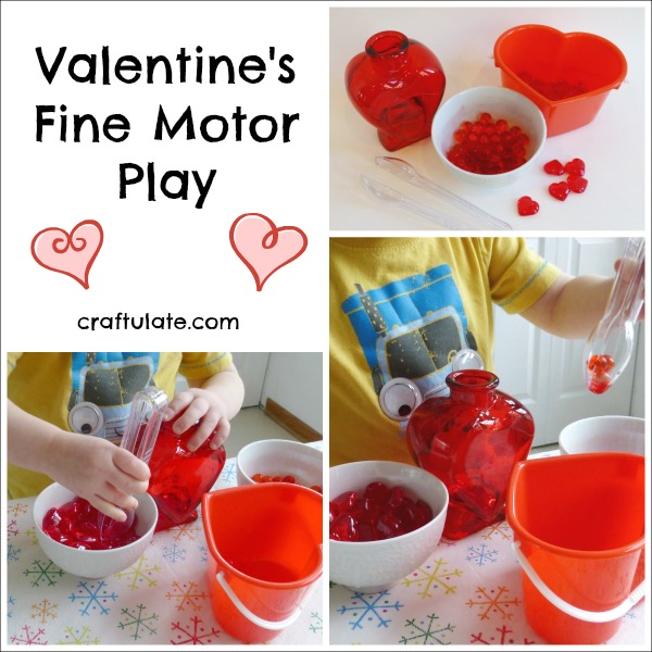 Valentines Fine Motor Play - transferring hearts and water beads with tongs!