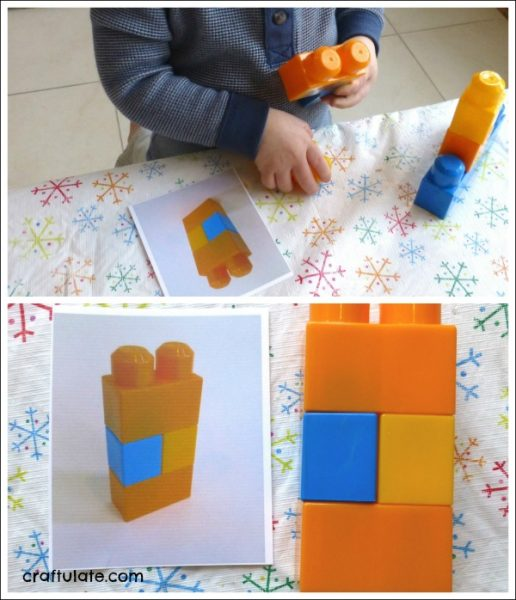 Copying Patterns with Building Blocks - fine motor practice