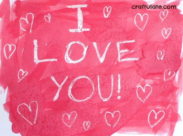 Crayon Resist Hearts - Valentine's Day art for kids