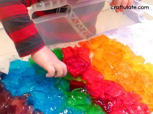 Rainbow Jello Sensory Play - a fun (and edible) sensory experience for kids!