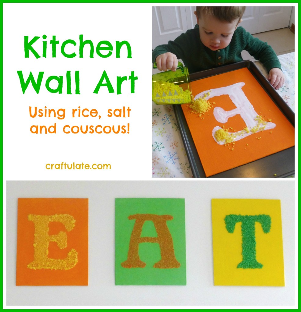 Kitchen Wall Art that kids can help make! Uses dyed salt, couscous and rice on canvas panels.