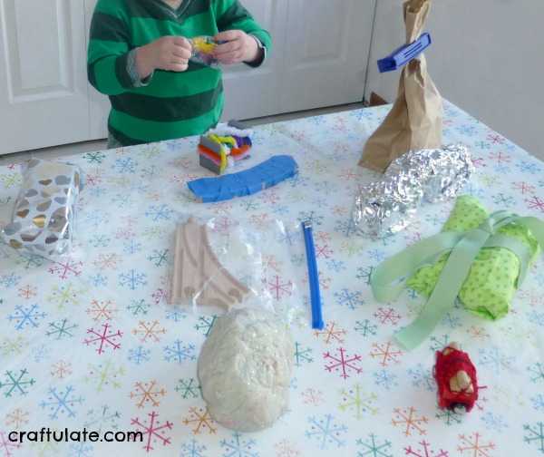 Train-Themed Unwrapping - fine motor activity