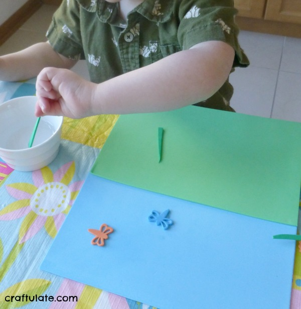 Craft Foam Collage - a fun reusable way to make art with water instead of glue!