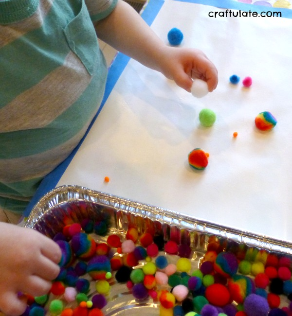 Pom Pom Collage For Toddlers - for fine motor practice