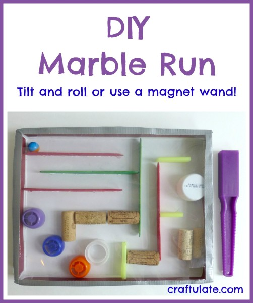 DIY Marble Run made with recyclables. Tilt and roll or use a magnet wand!
