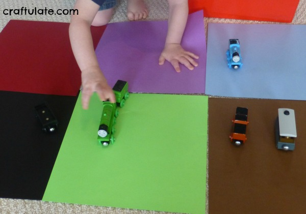 Color Sorting with Trains - a fun activity for toddlers
