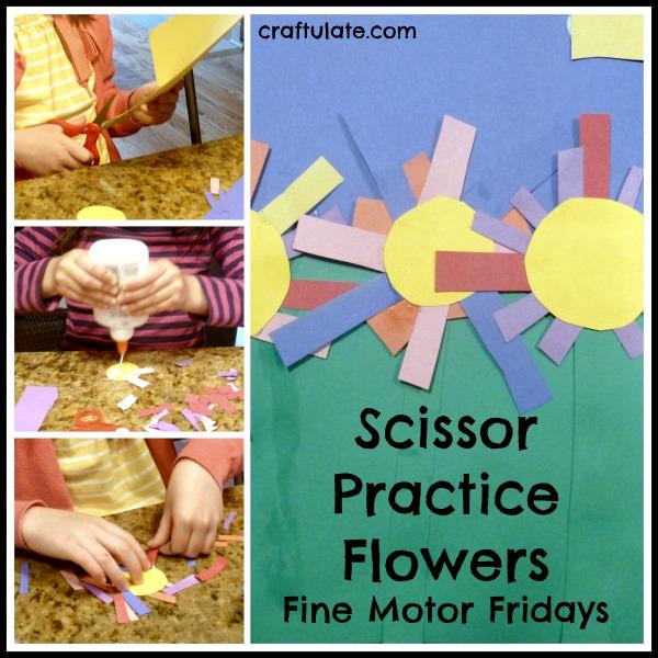 Scissor Practice Flowers for fine motor practice
