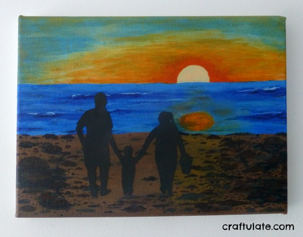 Beach Scene Family Silhouette Art
