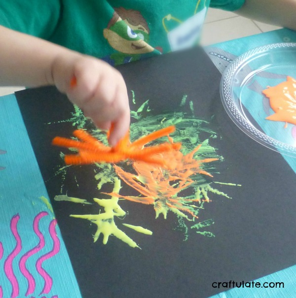 Glow-in-the-Dark Fireworks Painting