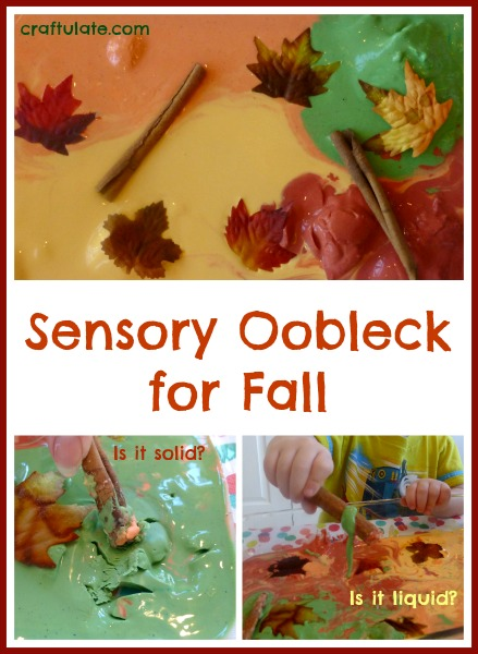 Sensory Oobleck for Fall - a fun sensory play recipe for kids