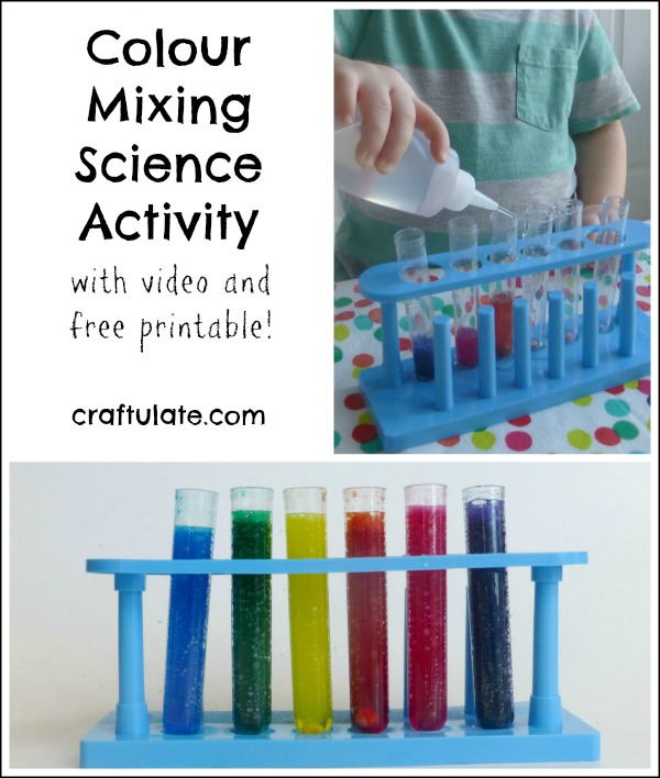 Colour Mixing Science Activity - with cool video and free printable!