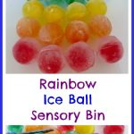 Rainbow Ice Ball Sensory Bin
