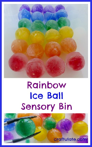 Rainbow Ice Ball Sensory Bin - icy colorful fun!