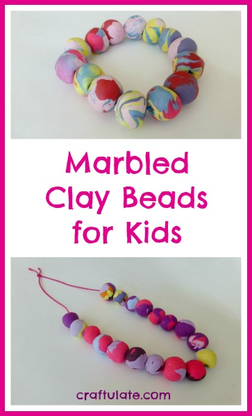 Marbled Clay Beads for Kids by Craftulate