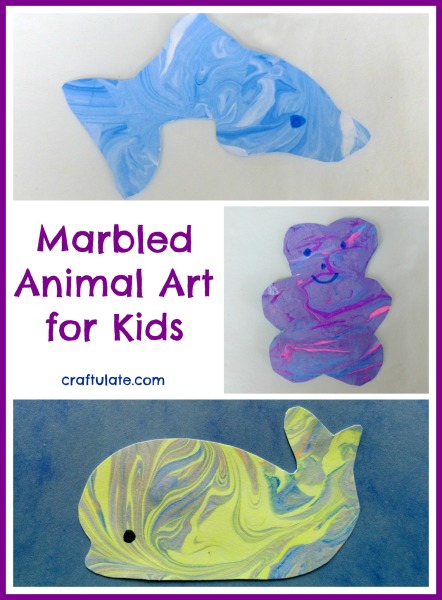 Marbled Animal Art for Kids from Craftulate