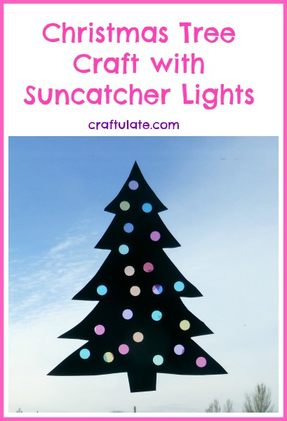 Christmas Tree Craft with Suncatcher Lights from Craftulate