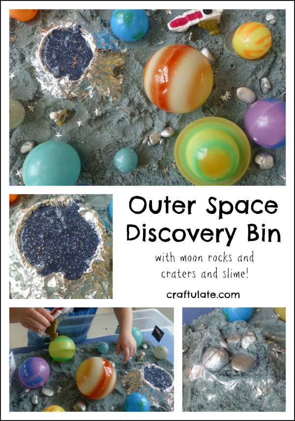 Outer Space Discovery Bin for kids to experience