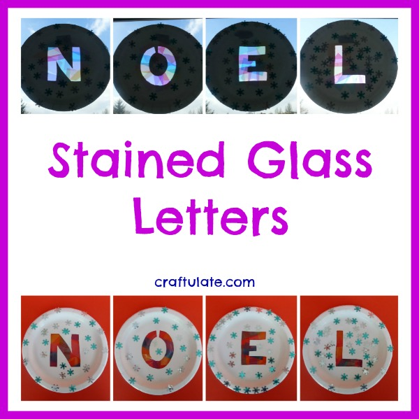 Stained Glass Letters using paper plates by Craftulate