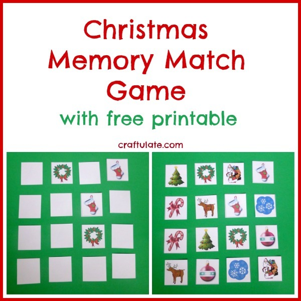 Christmas Memory Match Game for kids (free printable!)
